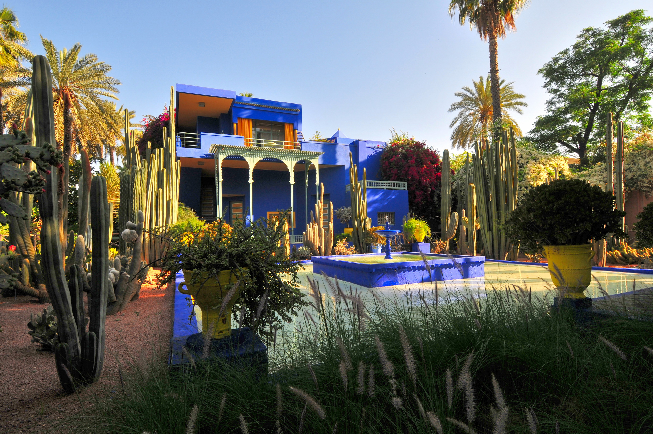 The high chroma ultramarine blue painted Art Deco style villa and surrounding gardens of Jardin Marjorelle designed by Jacques Marjorelle in the early 1930's and lovingly restored by Yves Saint Laurent and Pierre Bergé in 1980.