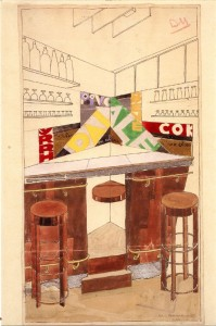 Project for a bar by Djo Bourgeois, architect and decorator, who conceived some of the key rooms of the villa.