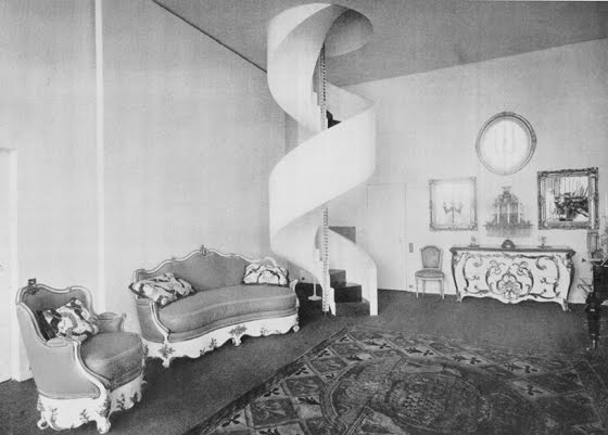 """The """"movie room"""" in Charles de Beistegui's apartment on the Champs-Élysées, Paris; reproduced from Architectural Review, April, 1936 (courtesy of Twentieth-Century Decoration by Stephen Calloway)."""