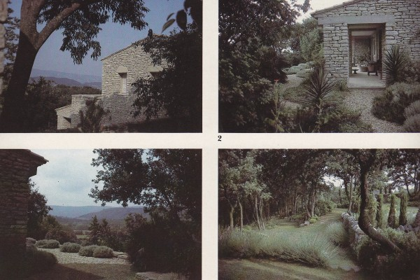 The local method of drystone walling was used in the building of the house.. Patches of rosemary, sage, lavender and pittosporum surround a terrace; a view of the Luberon hills; clipped lavender at the top of the steps leading from the house down to the garden.