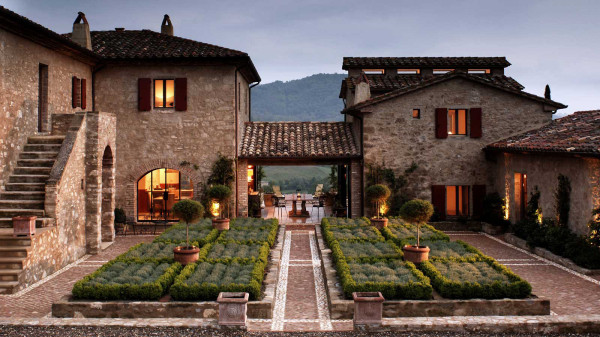 One of thirty-five medieval farmhouses surrounding Castello di Reschio in Umbria, the property of Count and Countess Bolza.