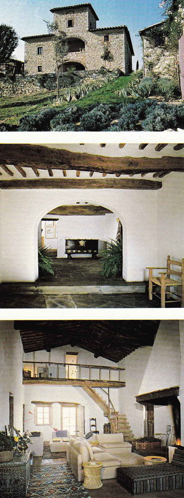 The Tuscany retreat of artist Teddy Millington Drake and interior designer John Stefanidis as featured in Architectural Digest, October, 1979. Photos by Pascal Hinous.