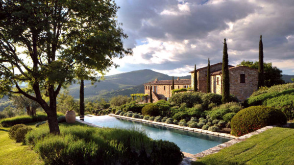 A view towards one of the properties on the grounds of Castello di Ruschio.
