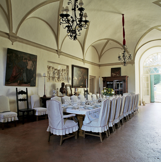 One of the dining rooms at Villa Cetinale. Photo courtesy of the Villa Cetinale website.