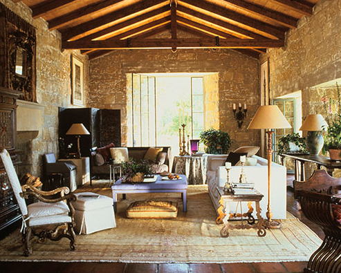 The living room of a hacienda designed by John Saladino in Santa Barbara, California. Photo by Dominique Vorillon.