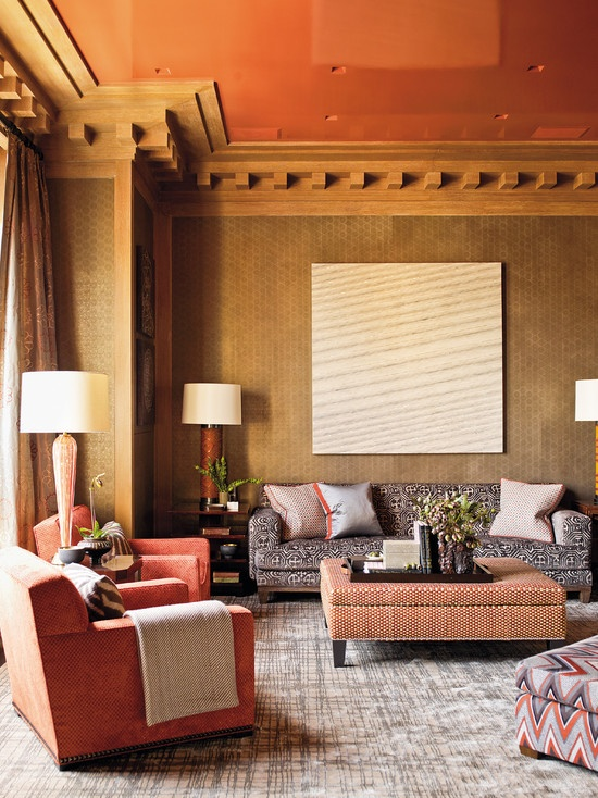 A lounge decorated by Steven Gambrel. Elle Decor; photo by Eric Piasecki.