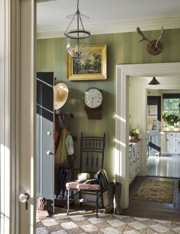 The entry hall in architect Gil Schafer's Hudson Valley home, Middlefield. Photo by John M. Hall.
