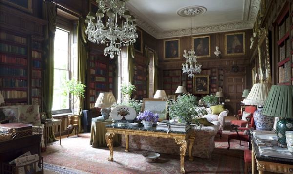 A more current photograph by J. Fennell of the library at Badminton House for The English Country House Style by James Peill.
