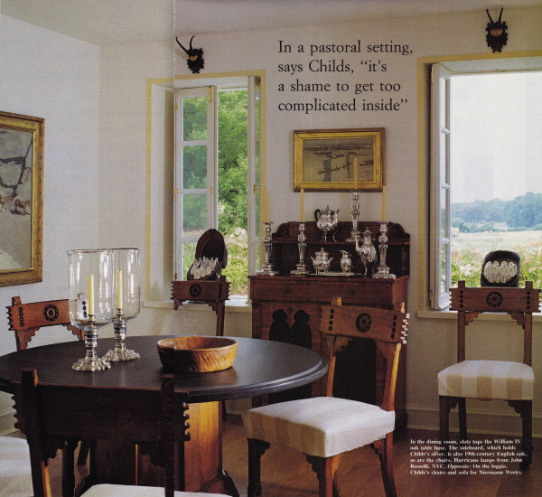 The spare and elegant dining room in Antony Child's Virgina country house. House and Garden; July 1993. Photo by William Waldron.