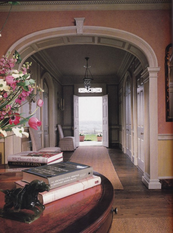 A Neoclassically-detailed  center hall in a Georgian-style estate decorated by Anthony P. Browne in Maryland's hunt country. Architectural Digest; photo by Paul Warchol.