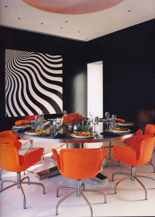 The Pop Glam dining room in Lisa Perry's New York apartment designed by Tony Ingrao. Vogue Living: Houses Gardens People. Photo by François Halard.