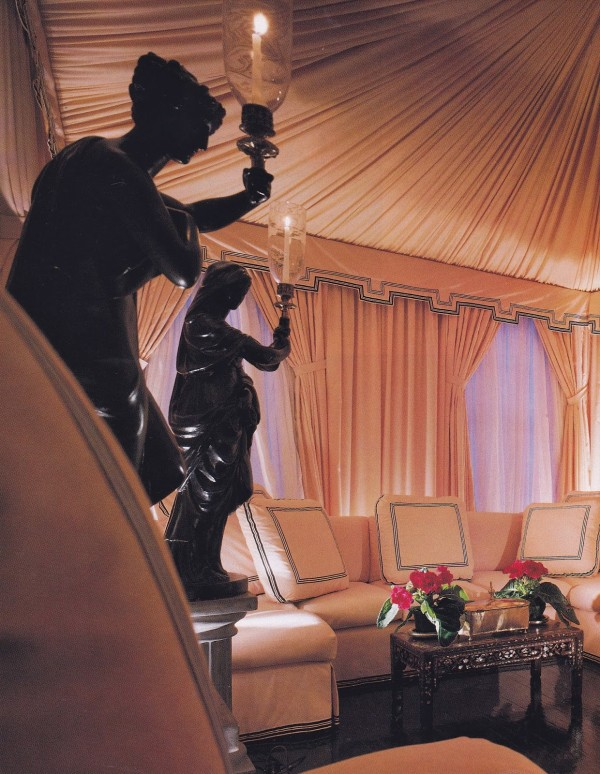 A neoclassical-style tented pleasure pavilion designed by Thomas Britt in an New York apartment. Architectural Digest; photo by Jaime Ardiles-Arce.