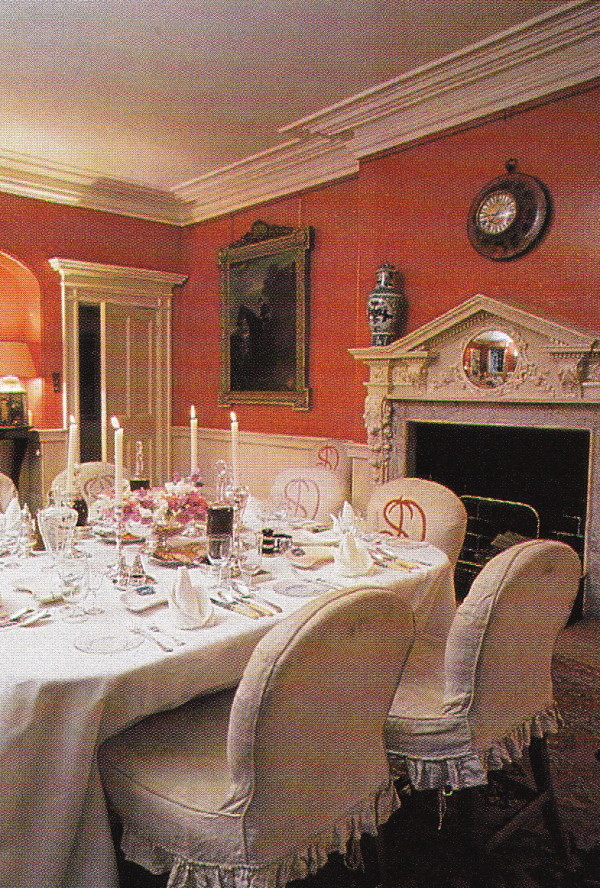 The dining room in The Cottage at Badminton decorated by Tom Parr for the Somersets before David Somerset became Duke of Beaufort, at which time the family moved into the grander Badminton House. From Colefax & Fowler: The Best in English Interior Decoration.