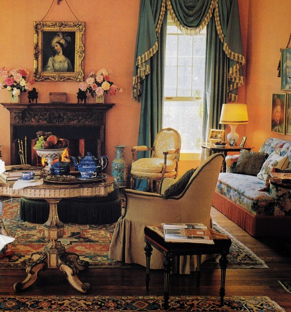 An early incarnation of Suzanne Rheinstein's Hancock Park living room. House and Garden.