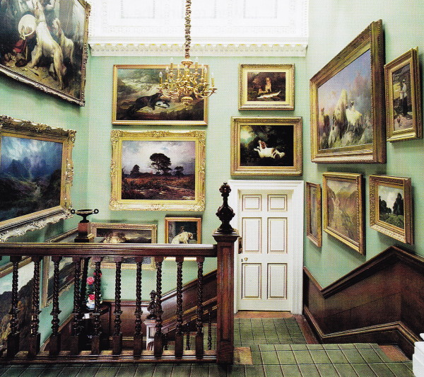 The main stair in Lawers House features works by Scottish artists. Photo by James Mortimer.