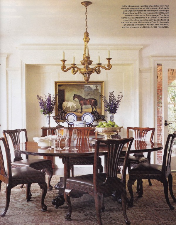 For the dining room in Soleimani's home Joyce placed English Chippendale dining chairs around an 18th-century Irish table. Elle Decor; photo by Roger Davies.