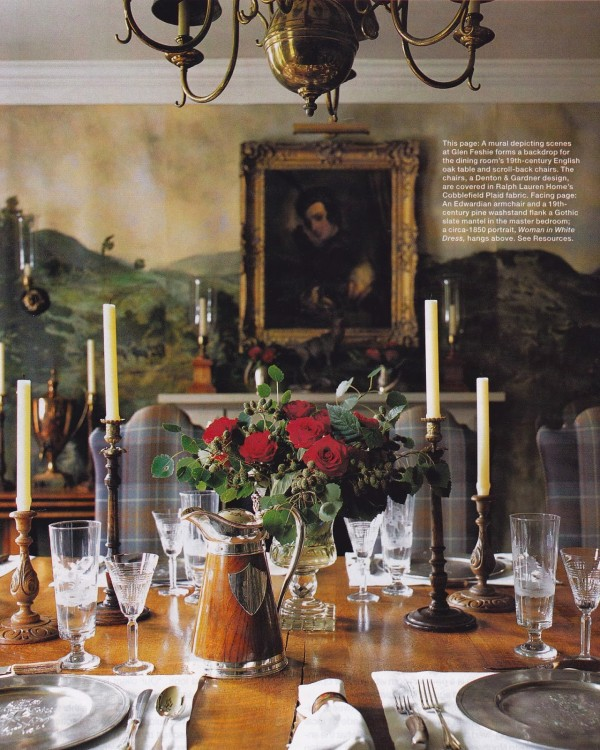 The dining room features a mural depicting scenes at Glen Fishie Lodge. Photo by Thibault Jeanson.