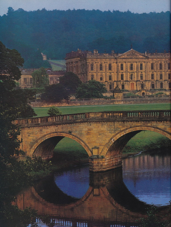 Chatsworth, the seat of the dukes of Devonshire, has been in the Cavensdish family since 1549. The house overlooks a vast park, designed in part by Capability Brown and Joseph Paxton. Architectural Digest; photo by Derry Moore.