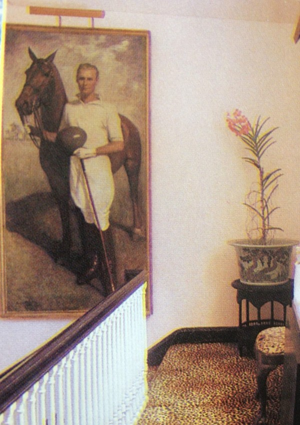 At the top of the stairs at Templeton is a portrait of Winston Guest, dressed for polo. HG; October 1988. Photo by Michael Mundy.