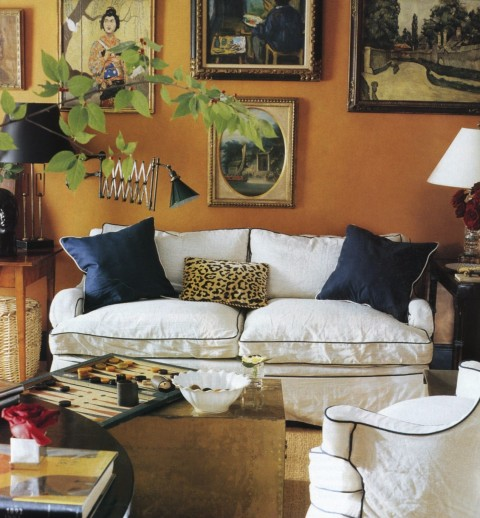 The living room in Miles Redd's family retreat in North Carolina. Elle Decor; photo by Fernando Bengoechea.