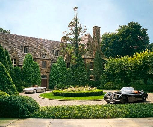 Ricky and Ralph Lauren's Norman-style stone manor house in Bedford, New York, built in 1919. Architectural Digest; photo by Durston Saylor.