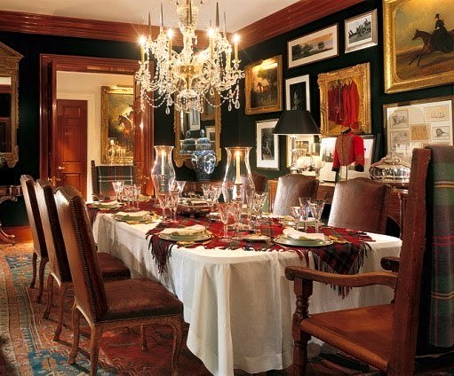 The Lauren's clubby dining room in their home in Bedford. Architectural Digest; photo by Durston Saylor.
