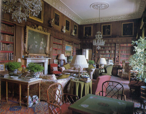 The library at Badminton House, the Duke of Beaufort's home in Gloucestershire, England, as photographed by Derry Moore.