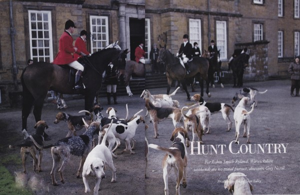 Huntsman Ralph Mankee, in left foreground, with his hounds at the traditional opening meet of the Warwickshire foxhounds at Upton House. HG; March 1989. Photo by Oberto Gili.