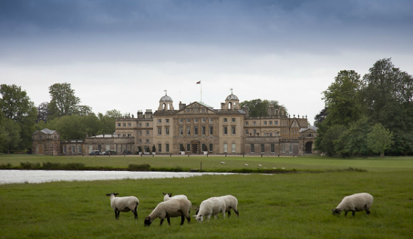 Badminton House, the Duke of Beaufort's home in Gloucestershire, England, as photographed by by J. Fennell for The English Country House by James Peill.