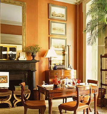 An corner of the living room set for dining in architect Gil Schafer's New York Townhouse decorated by Miles Redd. From The Great American House by Gil Schafer. Photo by Rene Barbara and Stoeltie.