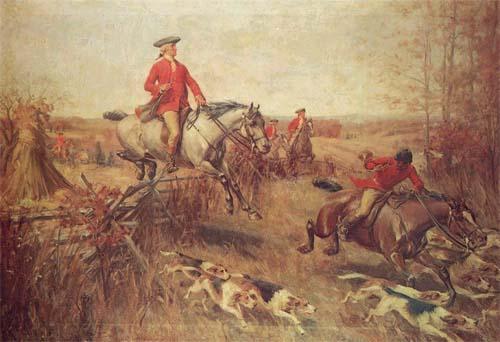 A portrait of George Washington fox hunting in Virginia.