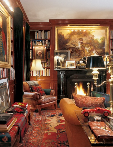 The library in Ralph and Ricky Lauren's Bedford residence. Photo by Durston Saylor.