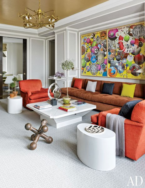 The family room in a New York apartment recently completed by Stephen Sills. Architectural Digest; photo by Bjorn Wallander.
