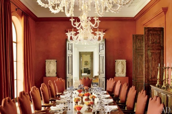 The dining room in a Tuscan-style residence in Las Vegas designed by Atelier AM. Architectural Digest; photo by Pieter Estersohn.
