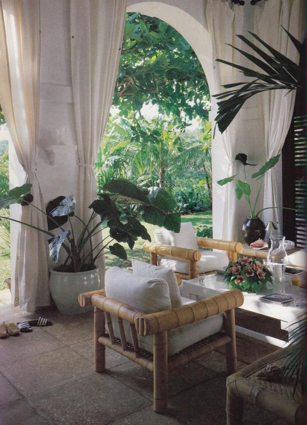 Angelo Donghia created a quietly luxurious environment for the Ralph Lauren's Jamaican villa. Photo by Edgar de Evia for House & Garden.