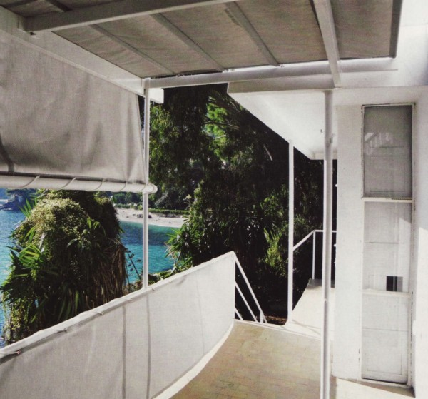 The balcony off the salon opens on to the view of the Bay of Monaco, and features sailcloth awnings reproduced to the original design. From Grand Designs, 2011.