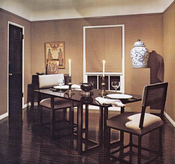 A table for two in a dining room designed by Kalef Alaton in the early 1980's stands the test of time with his simply classic chic style. Architectural Digest. Photo by Charles S. White.