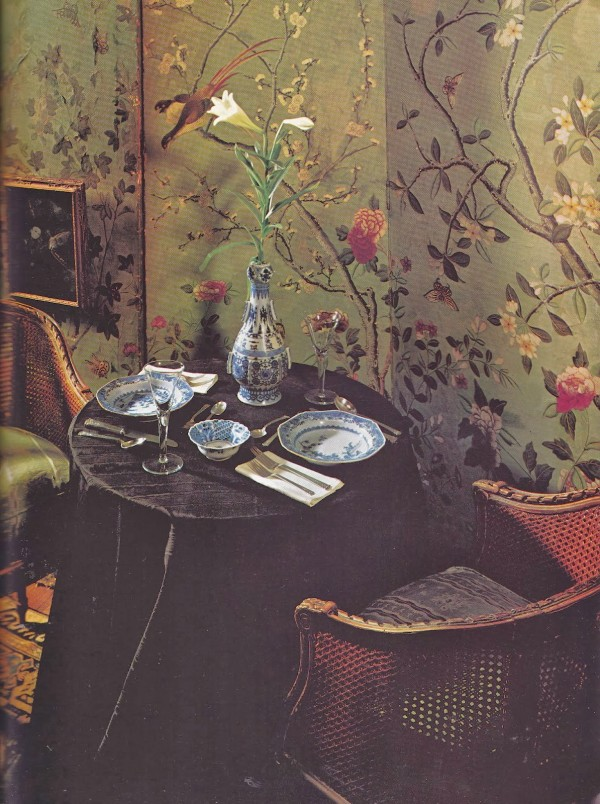 Want to get closer to your Valentine? Set a very small dining table, as Andrew F. Tauber did in his New York City apartment, c. 1978. Architectural Digest. Photo by Irving Schild.