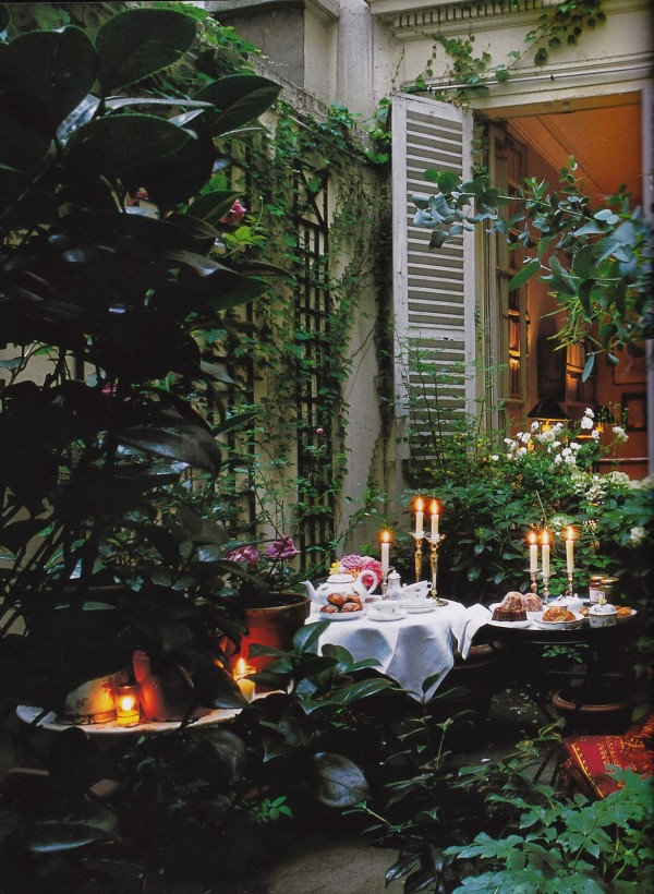If you're lucky enough to enjoy a warm climate on Valentine's Day what's better than dining alfresco surrounded by romantic candlelight, as seen here on Bruno de Caumont's terrace in the Marais. From Parisian Interiors by Elle Decor, 2008. Photo by Joel Laiter.