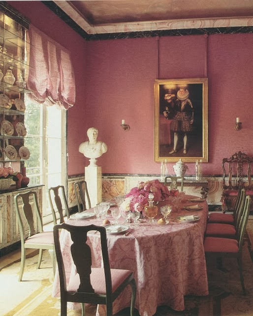 Manuel Canovas' antique rose painted dining room sets a romantic tone for a Valentine's Day brunch. From The French Touch by Daphne de Saint Sauveur.
