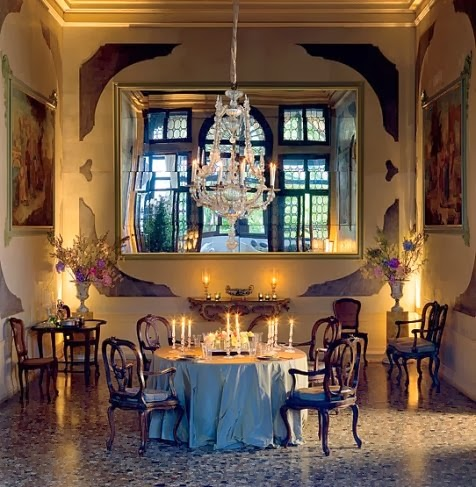 Don't try this at home - go to Venice! May and Axel Vervoordt's magical dining room in their Venetian palazzo. Architectural Digest. Photo by Mario Ciampi.