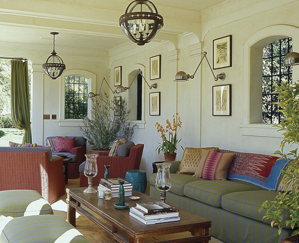 Michael S. Smith created a colorful and luxurious outdoor room for living inspired by Morocco for a Spanish Colonial revival-style home in southern California designed by architects Ferguson & Shamamian.