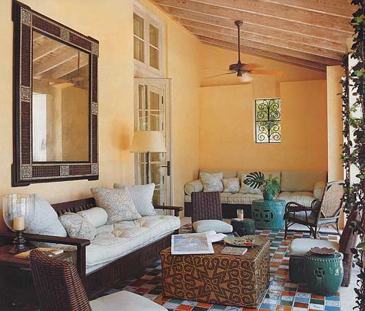 A veranda designed by Tom Scheerer for a house in Florida. From Elle Decor.