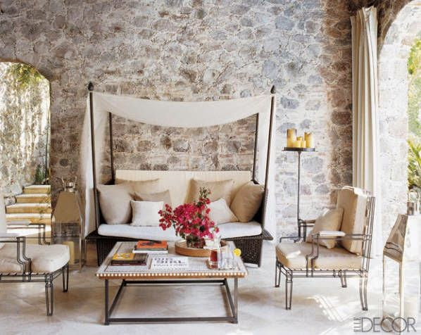Ray Booth designed this loggia in a Mexican colonial-style residence in San Miguel Allende with casual chic flair. Photo by William Waldron.