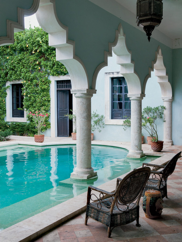 The courtyard at the home of James Jordan in Merida, Mexico, the New York-based vice chairman of the World Monuments Fund. Photo by Paul Costello.