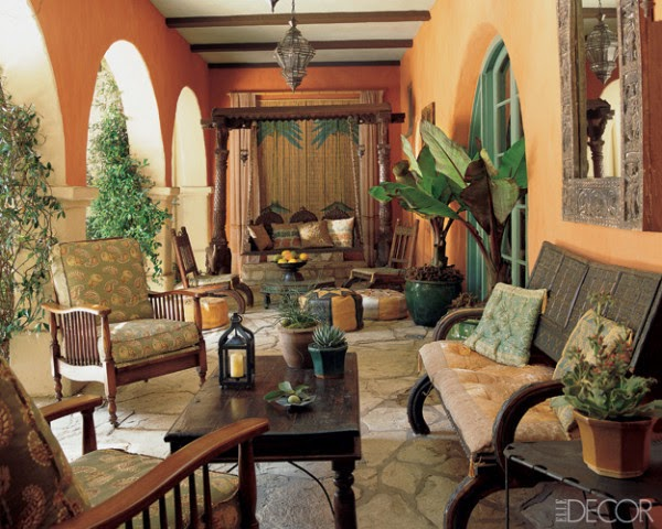 For the loggia of a Mediterranean-style house in Los Angeles Madeline Stuart created a Moroccan-inspired outdoor living room. Photo by Dominique Vorillon.