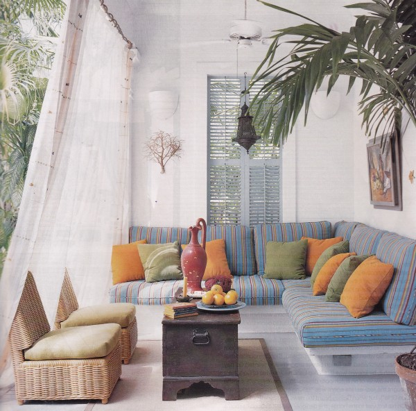 Decorator Michael Gainey channeled Angelo Donghia for his Key West home that was once owned by Donghia and Calvin Klein. Photo by William Waldron for Elle Decor.