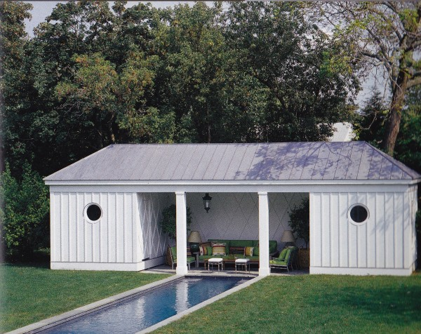 Steven Gambrel designed a restrained poolhouse based on a classical model for his previous Sag Harbor home. Photo by Tim Street-Porter.