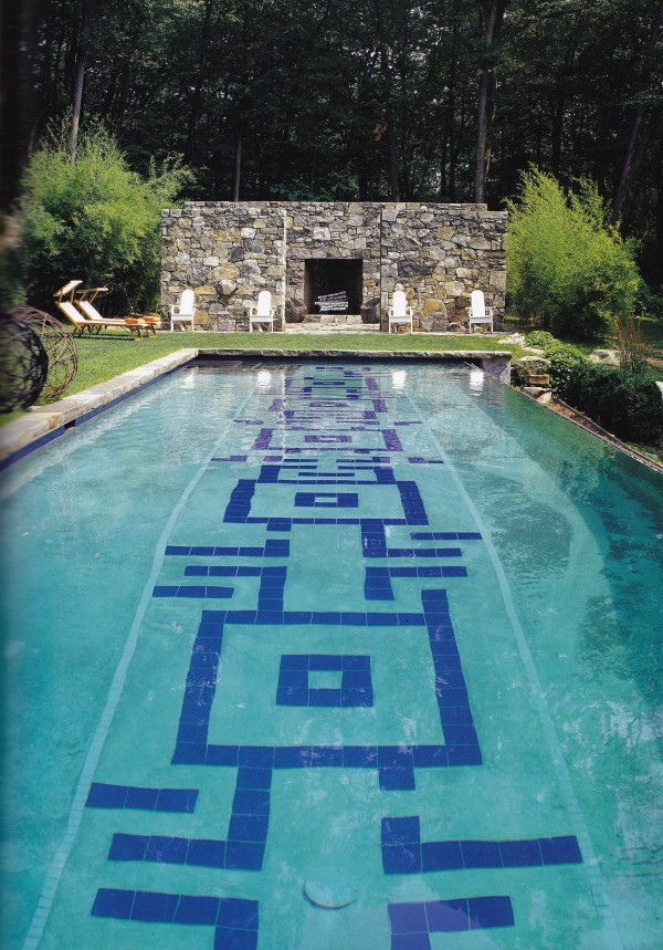 Juan Montoya based the design of his swimming pool for his retreat in the Hudson River Valley on a floor pattern in a Swedish palace. Photo by Tim Street-Porter.