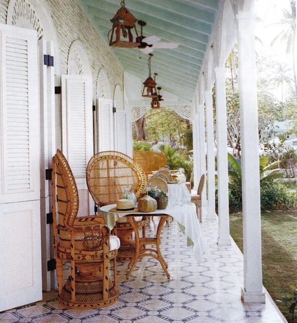 The veranda of Celerie Kemble's bungalow in the Dominican Republic. Photo by François Halard for Vogue.